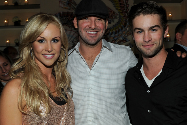 (L-R) Journalist Candice Crawford, NFL player Tony Romo and actor Chace Crawford attend the PEOPLE/TIME party on the eve of the White House Correspondents' Dinner at the St Regis Hotel - Astor Terrace on April 30, 2010 in Washington, DC. (Photo by Larry B
