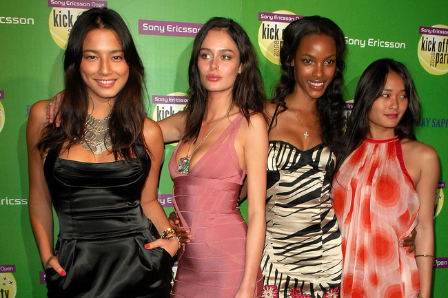 MIAMI BEACH, FL - MARCH 26:  (L-R) Model Jessica Gomes, Nicole Trunfio, Quiana Grant and Jara Mariano poses on the red carpet at the Sony Ericsson players party at Opium nightclub March 26, 2008 in Miami Beach, Florida.  (Photo by Gustavo Caballero/Getty