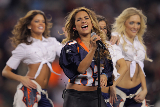 DENVER, CO - NOVEMBER 17:  Singer Jessie James performs at halftime of the game between the Denver Broncos and the New York Jets at Invesco Field at Mile High on November 17, 2011 in Denver, Colorado.  (Photo by Doug Pensinger/Getty Images)