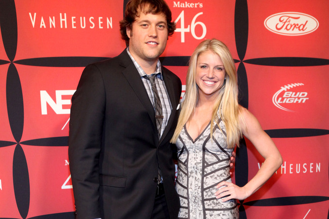 INDIANAPOLIS, IN - FEBRUARY 03:  Professional football player Matthew Stafford (L) and Kelly Hall attend ESPN The Magazine's 'NEXT' Event on February 3, 2012 in Indianapolis, Indiana.  (Photo by Robin Marchant/Getty Images for ESPN)