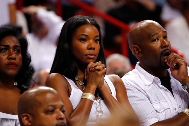 MIAMI, FL - JUNE 19:  Actress Gabrielle Union attends Game Four of the 2012 NBA Finals between the Miami Heat and the Oklahoma City Thunder  on June 19, 2012 at American Airlines Arena in Miami, Florida. NOTE TO USER: User expressly acknowledges and agree