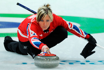 VANCOUVER, BC - FEBRUARY 21:  Eve Muirhead of Great Britain and Northern Ireland releases the stone during the women's curling round robin game between Great Britain and Switzerland on day 10 of the Vancouver 2010 Winter Olympics at Vancouver Olympic Cent