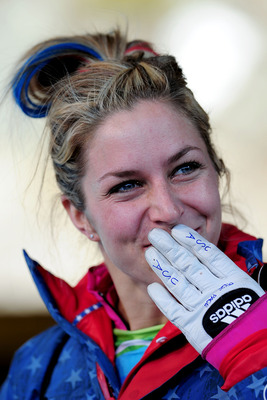WHISTLER, BC - FEBRUARY 19:  Noelle Pikus-Pace of the United States reacts after she completed her run in the women's skeleton third heat on day 8 of the 2010 Vancouver Winter Olympics at the Whistler Sliding Centre on February 19, 2010 in Whistler, Canad