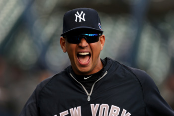 Alex Rodriguez is all smiles after realizing that he still has five years and over $100 million left on his contract.