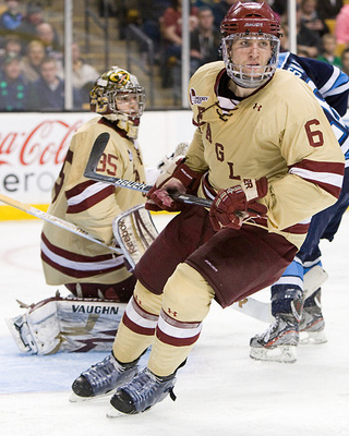 Patrick Wey playing for Boston College at the 2012 Hockey East Championship (Melissa Wade)