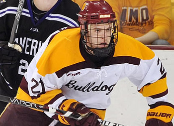 Caleb Herbert playing for the Bulldogs of Minnesota-Duluth (WCHA)