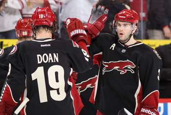 Keith Yandle (right) and Shane Doan of the Phoenix Coyotes.