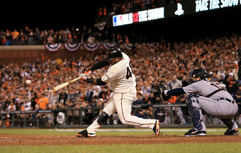 Pablo Sandoval unloads for one of his three home runs in Game 1 of the World Series.