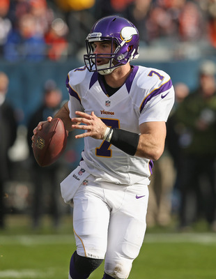 Christian Ponder struggled, again, completing 12 of 25 passes for 119 yards with a touchdown and two picks.