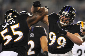 Terrell Suggs went down in the fourth quarter.