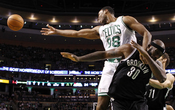 This is Jason Collins. He's 34, has scored a total of four points all season and is currently the only true center on Boston's active roster.