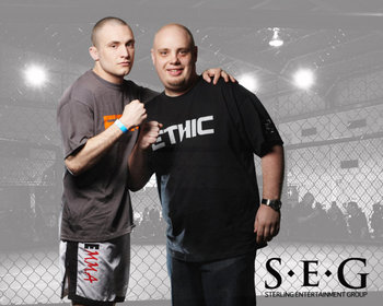 "Bellator fighter Mike ""The Marine"" Richman (left) with his manager and promoter Jeremy Bjornberg."