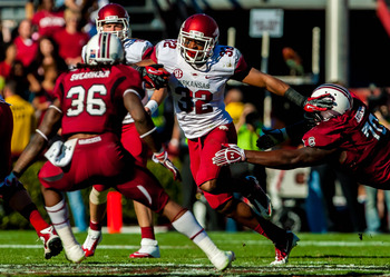 November 10, 2012; Columbia, SC, USA; Arkansas Razorbacks running back Jonathan Williams (32) in the second half against the South Carolina Gamecocks at Williams-Brice Stadium. Mandatory Credit: Jeff Blake-US PRESSWIRE