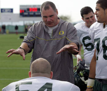 Oregon offensive line coach and running game coordinator Steve Greatwood