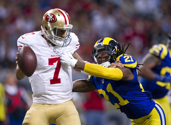 Colin Kaepernick was sacked three times by the Rams.
