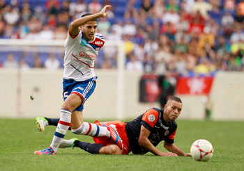 Yassine Benzia in action against Montpellier