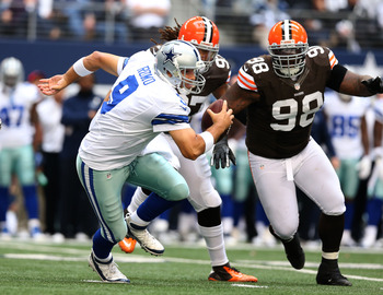 No. 98 DT- Phil Taylor hunting down Cowboys QB Tony Romo.