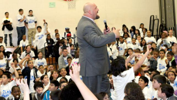 Show speaks to student about bullying. (Photo Credit: WWE.com)