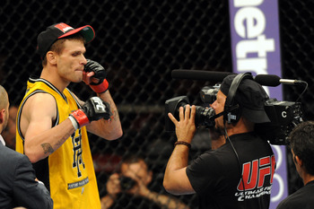 June 8, 2012; Sunrise, FL, USA; Tim Means reacts to his win over Justin Salas (not pictured) after their UFC bout at BankAtlantic Center. Mandatory Credit: Steve Mitchell-USA TODAY Sports