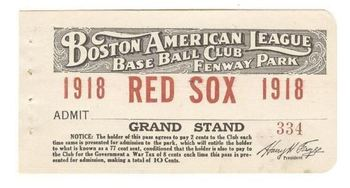 Ticket Stub from 1918 Red Sox Season - Note the 'War Tax'