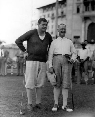 Babe Ruth sporting some checkered knickers. (Photo courtesy of Wiki-Commons)