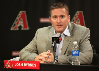 PHOENIX - MAY 08:  General manager Josh Byrnes of the Arizona Diamondbacks introduces the new team manager A. J. Hinch (not pictured) during a press conference before the game against the Washington Nationals at Chase Field on May 8, 2009 in Phoenix, Ariz