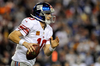 QB Eli Manning played well against Washington.