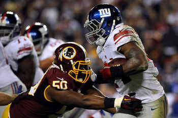 RB Ahmad Bradshaw plays with an attitude.