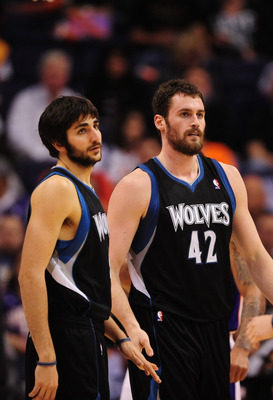 Mar. 1, 2012; Phoenix, AZ, USA; Minnesota Timberwolves forward Kevin Love (right) and guard Ricky Rubio against the Phoenix Suns at the US Airways Center. The Suns defeated the Timberwolves 104-95. Mandatory Credit: Mark J. Rebilas-USA TODAY Sports