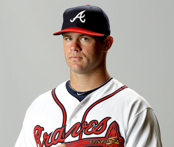 LAKE BUENA VISTA, FL - FEBRUARY 29:  Evan Gattis of the Atlanta Braves poses for a portrait during photo day at Champion Stadium on February 29, 2012 in Lake Buena Vista, Florida.  (Photo by Matthew Stockman/Getty Images)