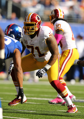Trent Williams has been a standout performer on the Redskins' offensive line in 2012, and his strong play continued against the Giants' front four.