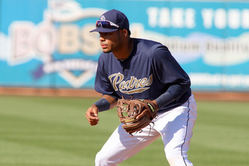Mar 16, 2012; Peoria, AZ, USA; San Diego Padres shortstop Jonathan Galvez (73) in the field during the ninth inning against the Los Angeles Angels at the Peoria Sports Complex.  Mandatory Credit: Jake Roth-USA TODAY Sports