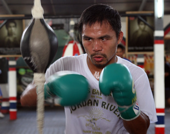Manny Pacquiao training for his fourth fight with Marquez.