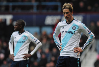 LONDON, ENGLAND - DECEMBER 01:  Fernando Torres of Chelsea looks on during the Barclays Premier League match between West Ham United and Chelsea at the Boleyn Ground on December 1, 2012 in London, England.  (Photo by Jamie McDonald/Getty Images)