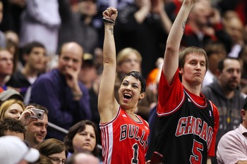 March 18, 2011; Indianapolis, IN, USA; Chicago Bulls fans cheer during the game against the Indiana Pacers at Conseco Fieldhouse. Indiana defeated Chicago 115-108. Mandatory credit: Michael Hickey-USA TODAY Sports