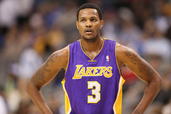 Los Angeles Lakers forward Devin Ebanks looks on during a game against the Dallas Mavericks