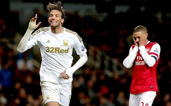 Michu stuns the Emirates last week, leaving Kieran Gibbs with his head in his hands. Image courtesy of telegraph.co.uk