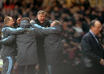 Sam Allardyce celebrates sinking Chelsea with his backroom team. Image courtesy of hackneygazette.co.uk