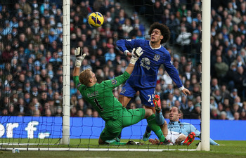 Marouane Fellaini finds the net against Manchester City.