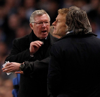 "Sir Alex and Roberto Mancini in a ""debate"" last season."
