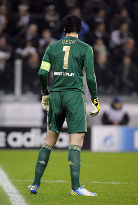 The Chelsea 'keeper wearing the captain's armband in the absence of John Terry and Frank Lampard.
