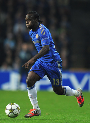 Victor Moses making one of his powerful runs.