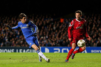 Oscar slotting home Chelsea's sixth goal of the night.