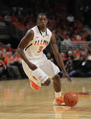 CHICAGO, IL - DECEMBER 17: Brandon Paul #3 of the Illinois Fighting Illini moves against the UNLV Rebels at United Center on December 17, 2011 in Chicago, Illinois. UNLV defeated Illinois 64-48.  (Photo by Jonathan Daniel/Getty Images)