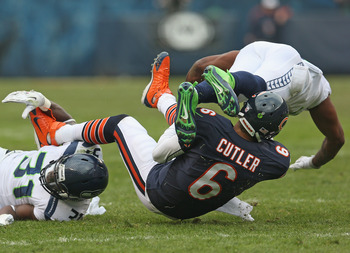 Jay Cutler's success depends upon a good offensive line.