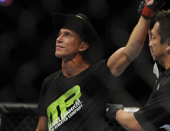 May 15, 2012; Fairfax, VA, USA; Donald Cerrone raises his hand in victory over Jeremy Stephens during the Korean zombie vs Poirier event at Patriot Center.  Mandatory Credit: Rafael Suanes-USA TODAY Sports