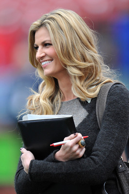 Oct 18, 2012; St. Louis, MO, USA; Fox reporter Erin Andrews watches batting practice before game four of the 2012 NLCS between the St. Louis Cardinals and the San Francisco Giants at Busch Stadium.    Mandatory Credit: Peter G. Aiken-USA TODAY Sports