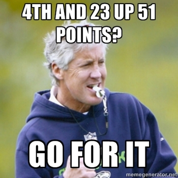seattle seahawks meme 2014 Superbowl 48 pete carroll go for it