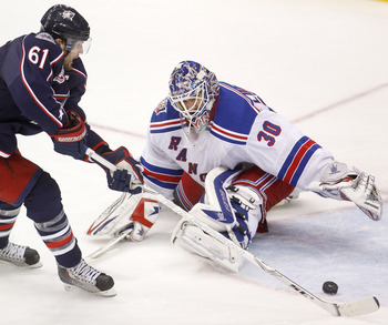 Rick Nash, formerly of the Columbus Blue Jackets, and Henrik Lundqvist of the New York Rangers.