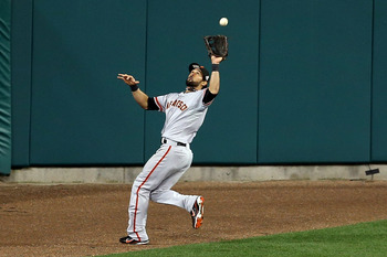 Angel Pagan hauls in this long drive in Game 4 of the World Series.